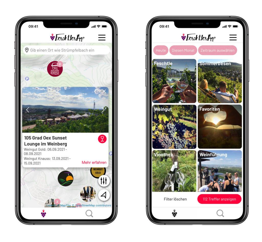 FeschtlesApp-Screenshots der App_Karte und Filter